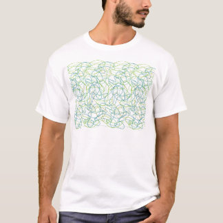 Organic Shapes in Teal, Gold, and Green on White T-Shirt