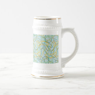 Organic Shapes with Teal Background Beer Stein