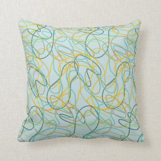 Organic Shapes with Teal Background Pillows