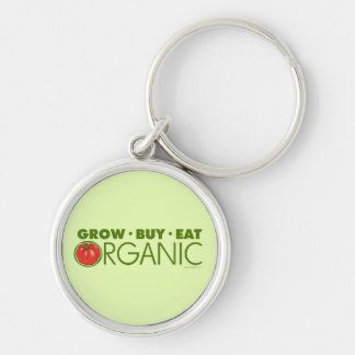 Organic Silver-Colored Round Keychain