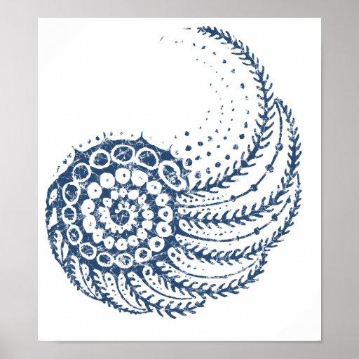 Organic spiral blue poster