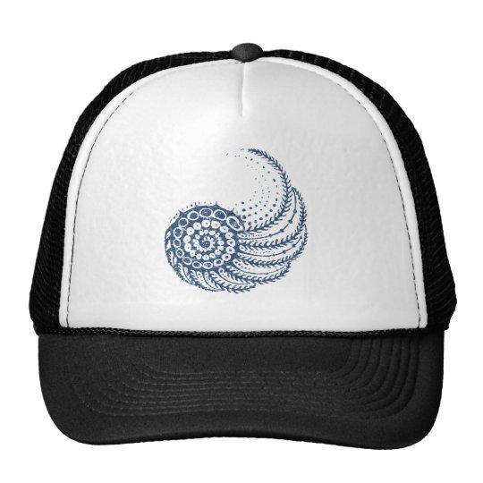 Organic spiral blue trucker hat