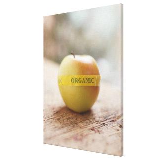 Organic sticker on apple canvas print