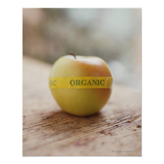 Organic sticker on apple posters