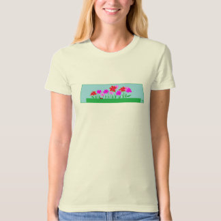 organic T-shirt with happy red and pink garden