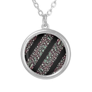 Organic Texture Stripe Pattern Round Pendant Necklace