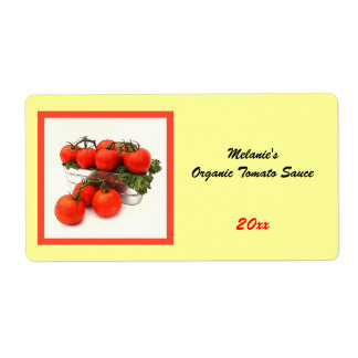 Organic tomato sauce home preserve label