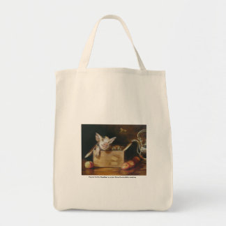 Organic Tote with great painting of pig and owl Bags