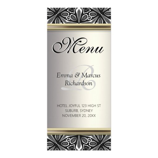 Organic Tribal Silver Black White Wedding Menu