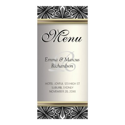 Organic Tribal Silver Black White Wedding Menu Rack Cards