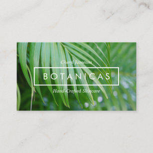organic tropical leaves skin care spa salon business card
