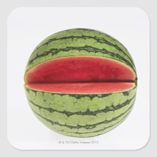 Organic watermelon with a slice cut into it, on square sticker