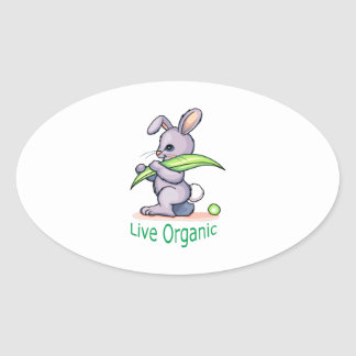 Orgánico vivo pegatina ovalada
