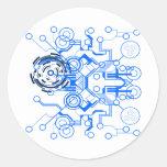 organigrama azul claro del circuitboard pegatina redonda