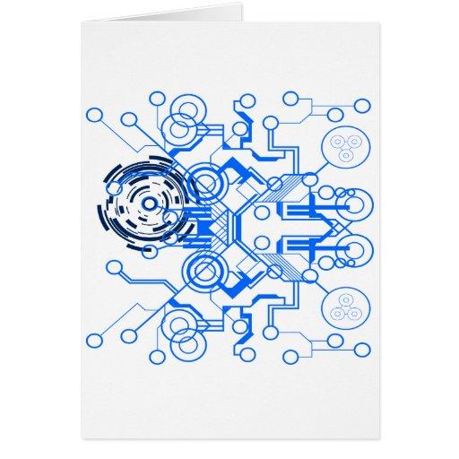 organigrama azul claro del circuitboard felicitación