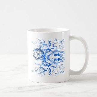 organigrama azul claro del circuitboard taza de café