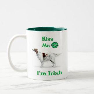 Organismo-Beso rojo y blanco yo soy irlandés Taza De Café De Dos Colores