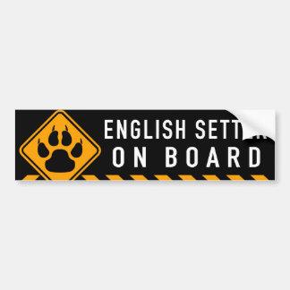 Organismo inglés a bordo pegatina para coche