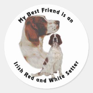 Organismo rojo del mejor amigo y blanco irlandés pegatina redonda
