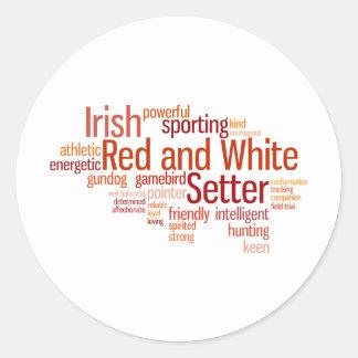 Organismo rojo y blanco irlandés pegatina redonda