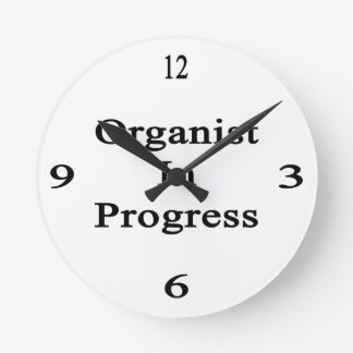 Organist In Progress Round Clock