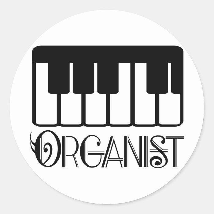 Organist Keyboard Gift Classic Round Sticker