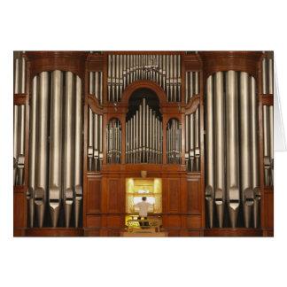 Organista en la consola del órgano tarjeta de felicitación