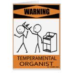 Organista temperamental amonestador tarjeta