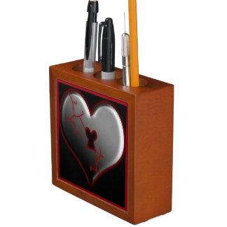 Organizador del escritorio del corazón quebrado organizador de escritorio