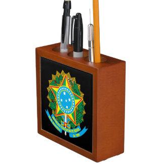 Organizador del escritorio del escudo de armas de portalápices