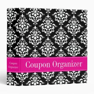 """Organizador rosado y negro de la cupón del damasco carpeta 1 1/2"""""""
