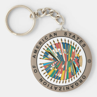 Organization of American States, English Basic Round Button Keychain