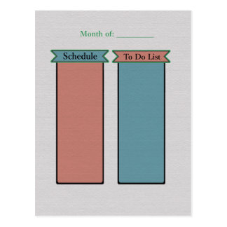 Organize Your Life-To Do List- Schedule Planner Postcard