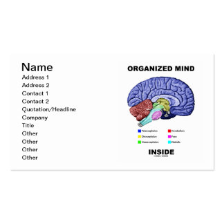 Organized Mind Inside (Anatomical Brain Attitude) Double-Sided Standard Business Cards (Pack Of 100)