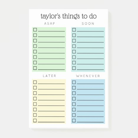 Organized Things to Do Blue Green Yellow Post-it Notes
