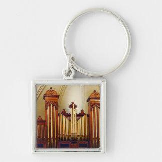 Órgano de la iglesia llavero cuadrado plateado