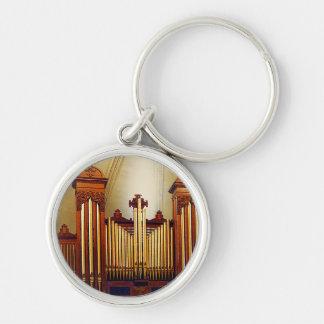 Órgano de la iglesia llavero redondo plateado