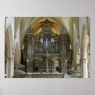 Órgano en el Predigerkirche Erfurt Alemania Posters