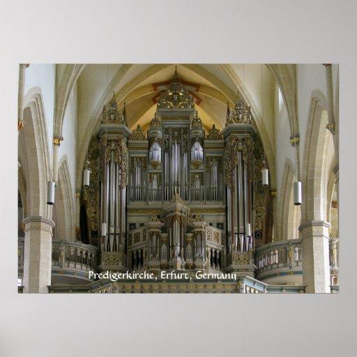 Órgano en el Predigerkirche, Erfurt, Alemania Posters