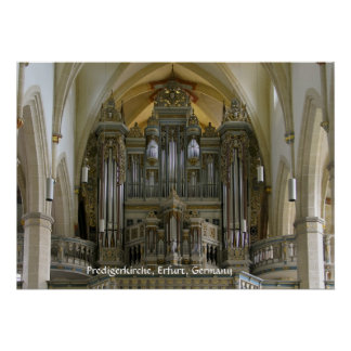 Órgano en el Predigerkirche, Erfurt, Alemania Póster