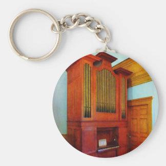 Órgano en iglesia llavero redondo tipo pin