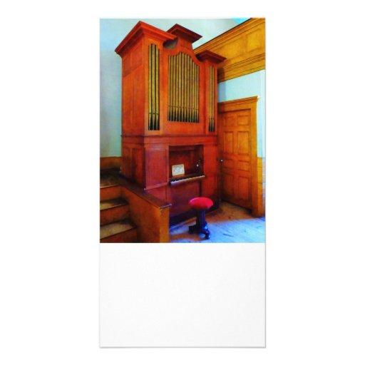 Órgano en iglesia tarjetas fotograficas personalizadas
