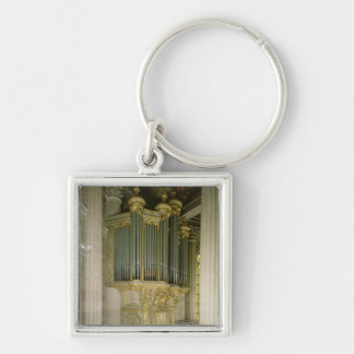 Órgano en la capilla llavero cuadrado plateado