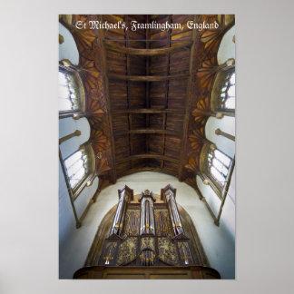 Órgano en la iglesia de Framlingham, Reino Unido Póster