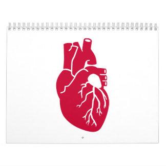 Órgano rojo del corazón calendarios de pared