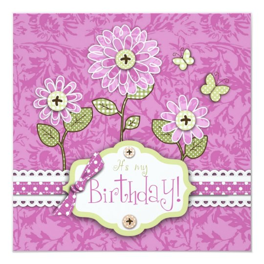 Organza Flowers B Invite Card Square Pink