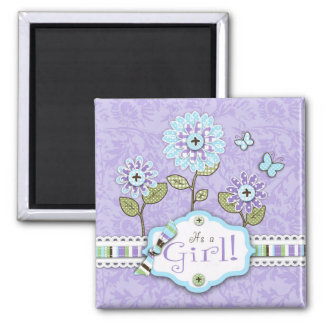 Organza Flowers Baby Shower Magnet Lav