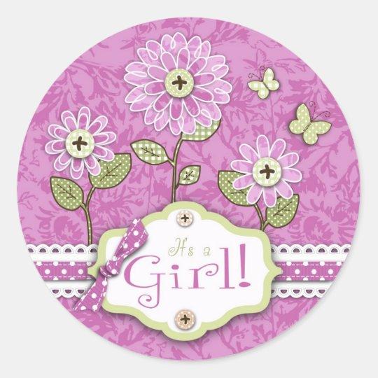 Organza Flowers Baby Shower Sticker Pink