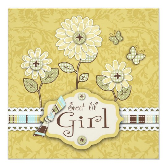 Organza Flowers Gold Square Card