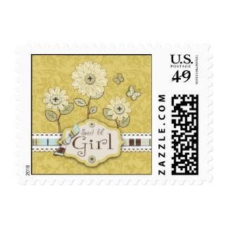 Organza Flowers Gold Stamp B2